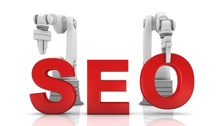 What is SEO? SEO text with robot arms